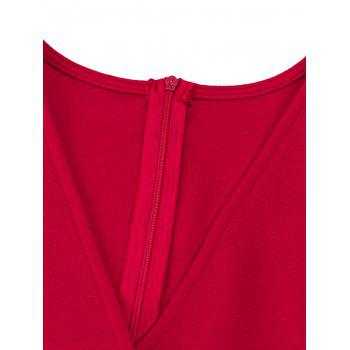 Flare Sleeve Surplice Neck Romper - RED RED