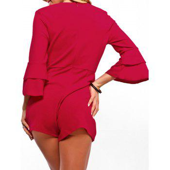 Flare Sleeve Surplice Neck Romper - RED 2XL