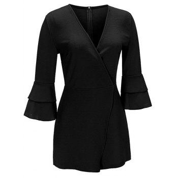 Flare Sleeve Surplice Neck Romper - BLACK BLACK
