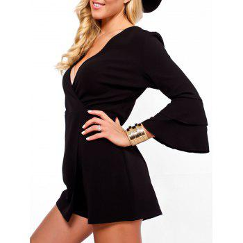 Flare Sleeve Surplice Neck Romper - BLACK L
