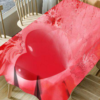 Valentine's Day Love Heart Printed Waterproof Table Cloth - RED W60 INCH * L84 INCH