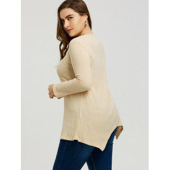 Plus Size Handkerchief Ribbed Sweater - LIGHT CAMEL 3XL