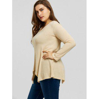 Plus Size Handkerchief Ribbed Sweater - LIGHT CAMEL 4XL