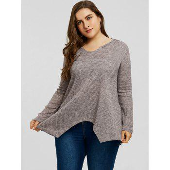 Plus Size Handkerchief Ribbed Sweater - GRAY 5XL