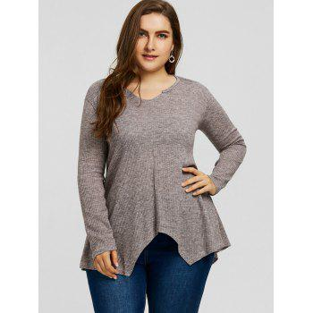 Plus Size Handkerchief Ribbed Sweater - GRAY GRAY