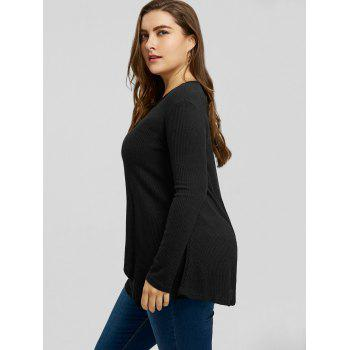 Plus Size Handkerchief Ribbed Sweater - BLACK 4XL