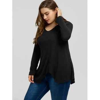 Plus Size Handkerchief Ribbed Sweater - BLACK 3XL