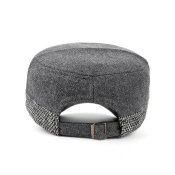 Metal Bar Decorated Flat Top Adjustable Military Hat -  GRAY