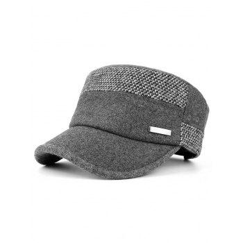 Metal Bar Decorated Flat Top Adjustable Military Hat - GRAY GRAY