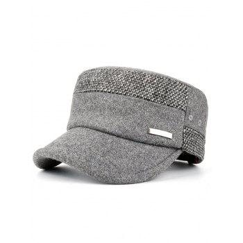 Metal Bar Decorated Flat Top Adjustable Military Hat - LIGHT GRAY LIGHT GRAY