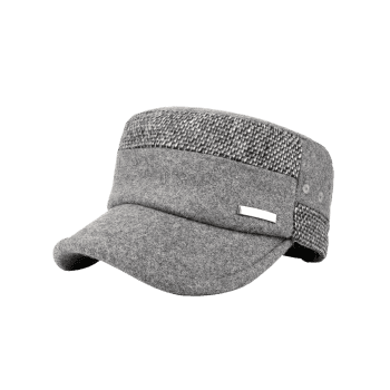 Metal Bar Decorated Flat Top Adjustable Military Hat -  LIGHT GRAY