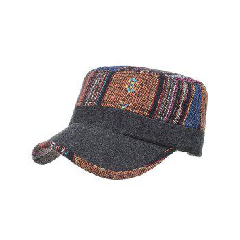 Vintage Ethnic Style Flat Top Military Hat - #01