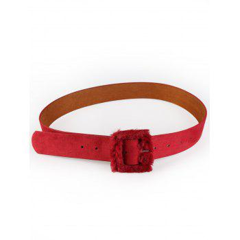 Cute Furry Buckle Decorated Faux Leather Waist Belt - RED RED