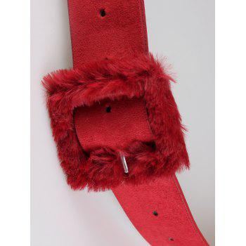 Cute Furry Buckle Decorated Faux Leather Waist Belt -  RED