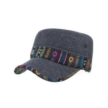 Ethnic Style Pattern Flat Top Adjustable Military Hat - #02