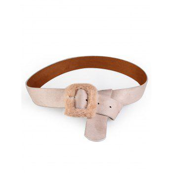 Cute Furry Buckle Decorated Faux Leather Waist Belt - APRICOT APRICOT