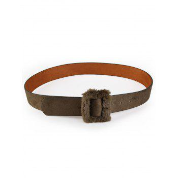 Cute Furry Buckle Decorated Faux Leather Waist Belt - ARMY GREEN ARMY GREEN