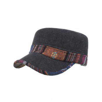 Ethnic Style Pattern Flat Top Adjustable Military Hat - #03
