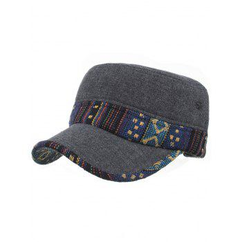 Ethnic Style Pattern Flat Top Adjustable Military Hat - #04