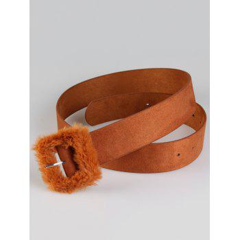Cute Furry Buckle Decorated Faux Leather Waist Belt -  CHOCOLATE