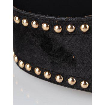 Metal Rivets Embellished Elastic Wide Waist Belt -  BLACK
