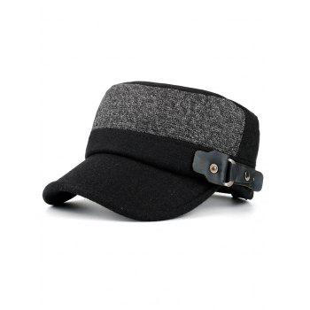 Outdoor Flat Top Button Military Hat - BLACK BLACK