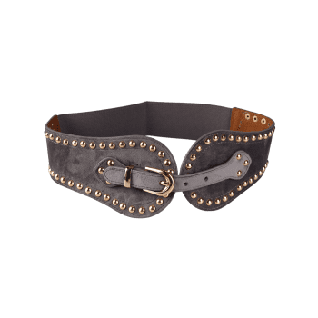 Metal Rivets Embellished Elastic Wide Waist Belt - GRAY