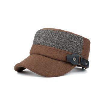 Outdoor Flat Top Button Military Hat - COFFEE COFFEE