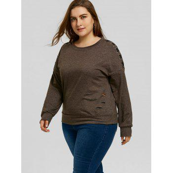 Plus Size Lace-up Sleeve Ripped Sweatshirt - DARK HEATHER GRAY 3XL