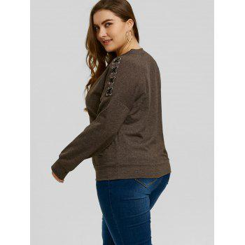 Plus Size Lace-up Sleeve Ripped Sweatshirt - DARK HEATHER GRAY 4XL