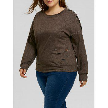 Plus Size Lace-up Sleeve Ripped Sweatshirt - DARK HEATHER GRAY DARK HEATHER GRAY