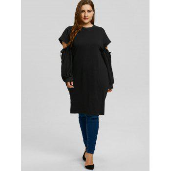 Plus Size Cut Out Sleeve Sweatshirt - BLACK BLACK