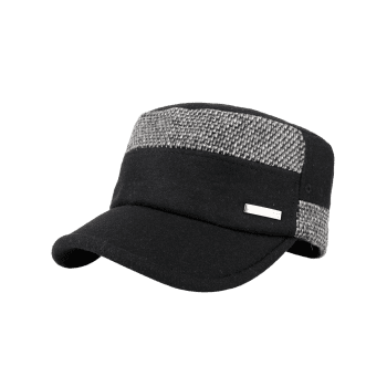 Metal Bar Decorated Flat Top Adjustable Military Hat - BLACK