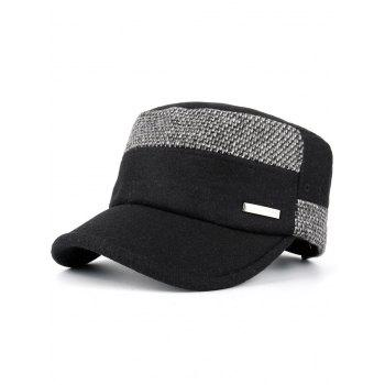 Metal Bar Decorated Flat Top Adjustable Military Hat - BLACK BLACK