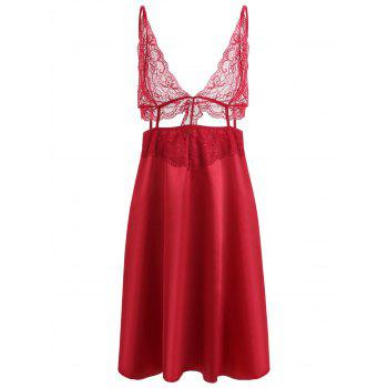 Cut Out Lace Panel Slip Babydoll - WINE RED WINE RED