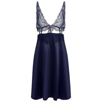Cut Out Lace Panel Slip Babydoll - CADETBLUE CADETBLUE