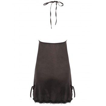Halter Lace Insert Backless Babydoll - BLACK BLACK