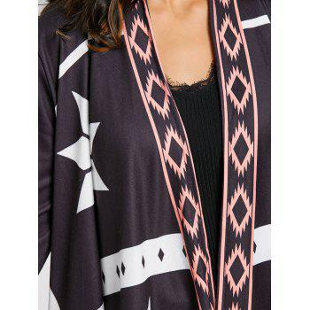 Asymmetrical Open Front Printed Cardigan - BLACK S