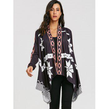 Asymmetrical Open Front Printed Cardigan - BLACK M