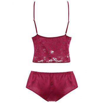 Lace Panel Sheer Tied Lingerie Set - RED L