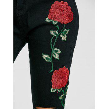 Flower Embroidered Knee Ripped Jeans - BLACK BLACK