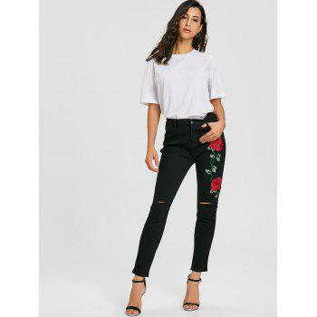 Flower Embroidered Knee Ripped Jeans - BLACK XL