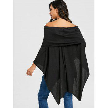 Off The Shoulder Asymétrique Poncho Tricots - Noir XL