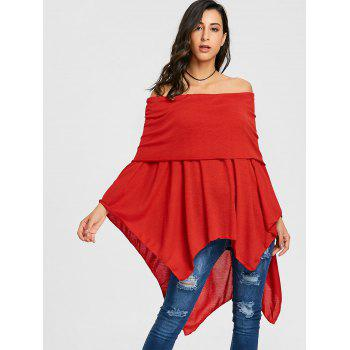 Off The Shoulder Asymmetric Poncho Knitwear - RED RED