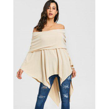 Off The Shoulder Asymmetric Poncho Knitwear - BEIGE 2XL