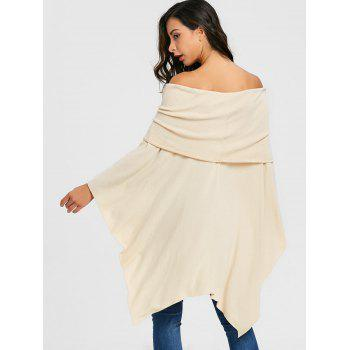 Off The Shoulder Asymmetric Poncho Knitwear - BEIGE XL