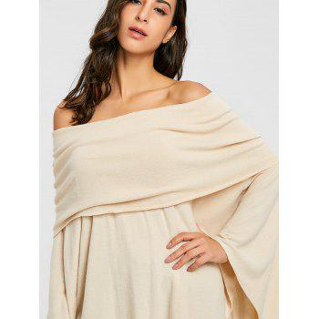 Off The Shoulder Asymmetric Poncho Knitwear - BEIGE L