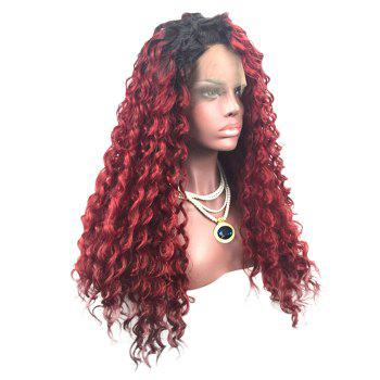 Long Side Parting Colormix Fluffy Deep Wave Lace Front Synthetic Wig - BLACK/WINE RED C