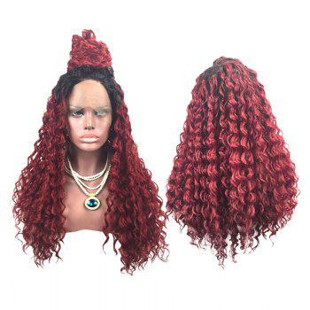 Long Side Parting Colormix Fluffy Deep Wave Lace Front Synthetic Wig - BLACK+WINE RED C5 BLACK/WINE RED C