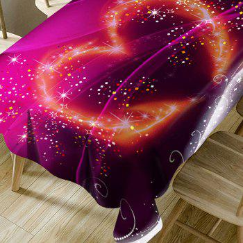 Valentine's Day Sparkling Heart Pattern Waterproof Table Cloth - PURPLE W60 INCH * L84 INCH